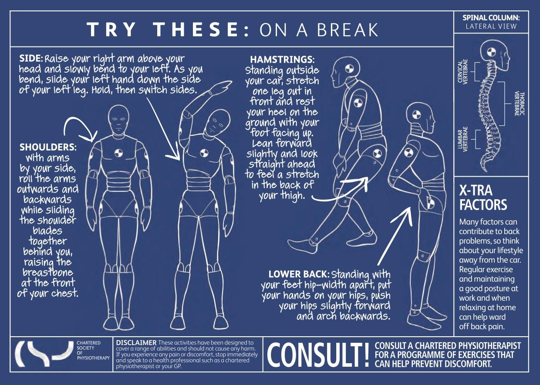 break from car journey exercises